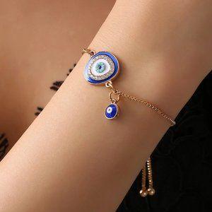 Evil Eye Round Blue Gold Adjustable Bracelet